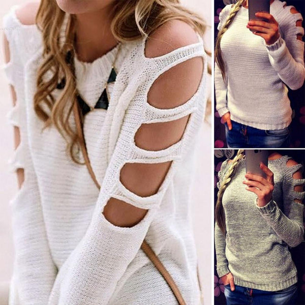 Cut-out Off Shoulder Knit Top