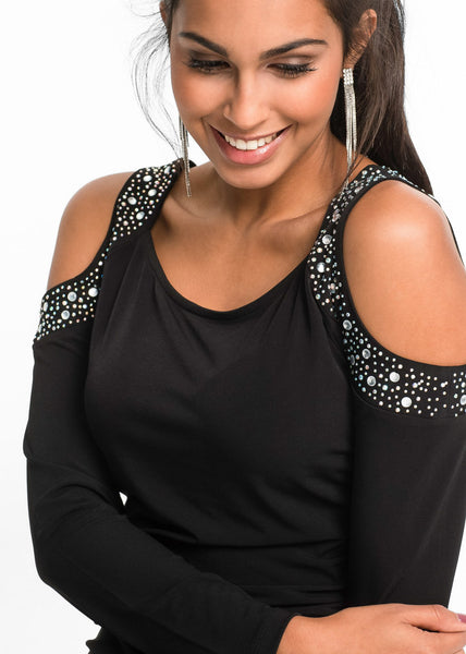 Rhinestone Cut-Out Top