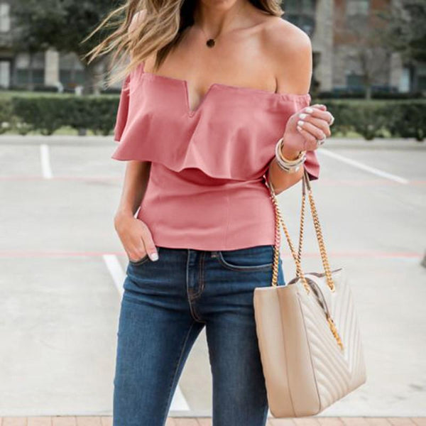 Folda - V-Neck Ruffle Top