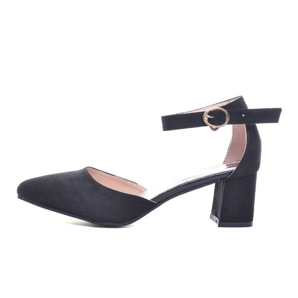 Pointed Toe Ankle Strap Square Heel Pumps