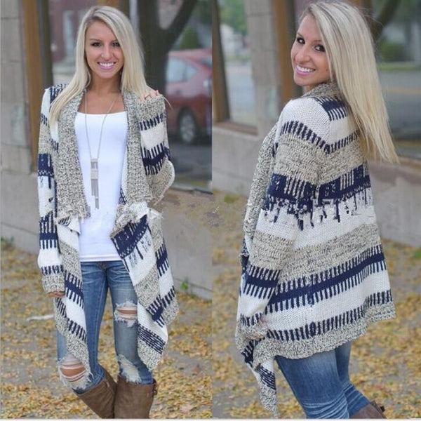 Aspen - Striped Knit Sweater Jacket