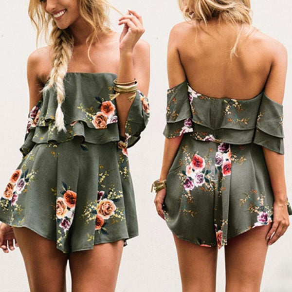 Opia - Floral Ruffle Playsuit