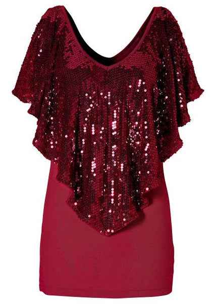 Milanese Sequin Shawl Blouse