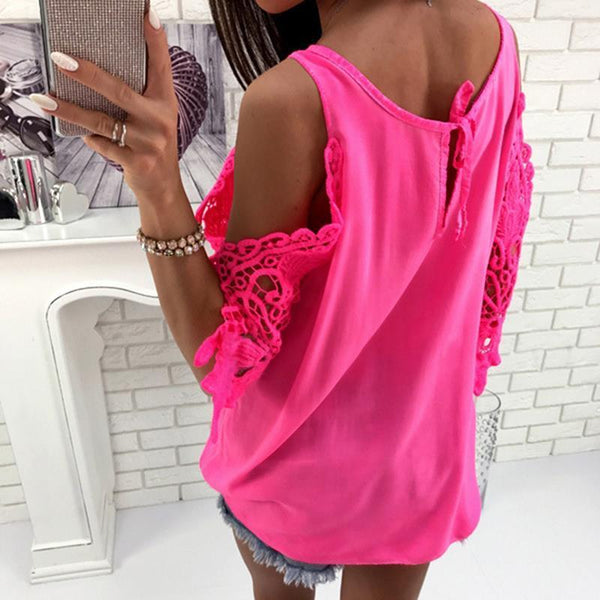 Cold Shoulder Lace Sleeve O-Neck Blouse