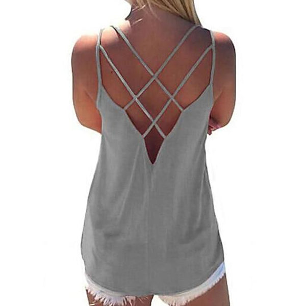 Criss Cross Open Back Loose Fit Blouse