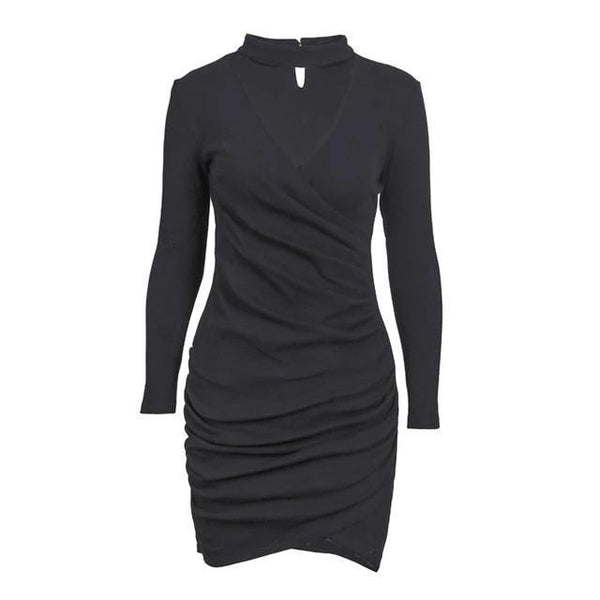 Liliana - Neck Detail V-Neck Sweater Dress