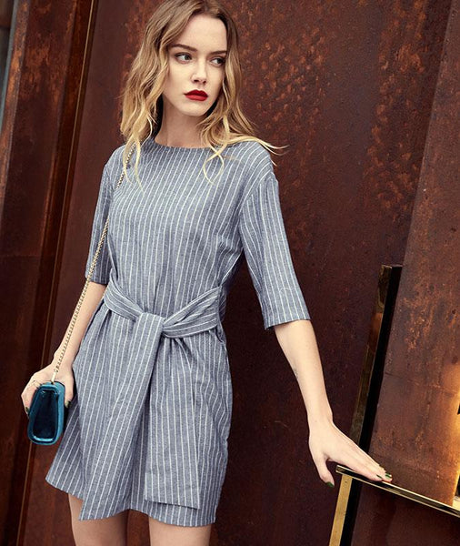 Vintage Striped Half Sleeve Dress with Waist Sash