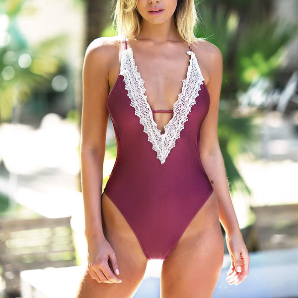 Kimo - V-Neck Crochet Swimsuit