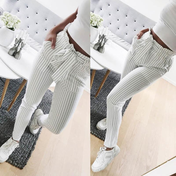 High Waist Ruffle Top Waist Tie Striped Harem Pants