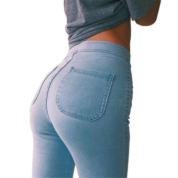 High Waist Skinny Leg Stretch Denim Jeans