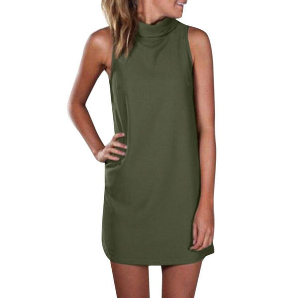 High Neck Sleeveless Mini Dress
