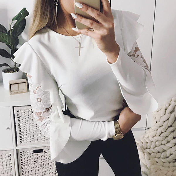 Ryleigh - Ruffle Lace Detail Blouse