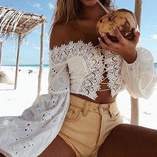 Off Shoulder Long Sleeve Lace Bandage Crop Top