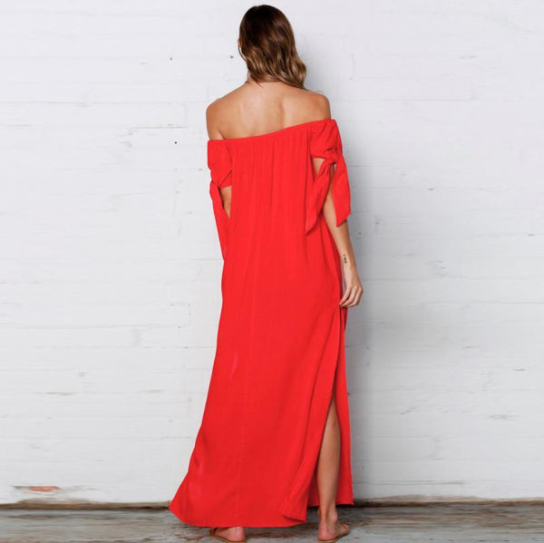 Off Shoulder Side Split Maxi Dress