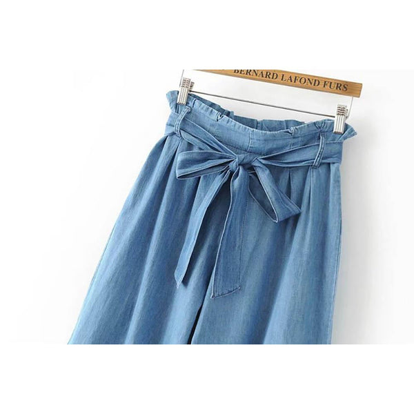 Wide Leg Waist Tie Denim Jeans