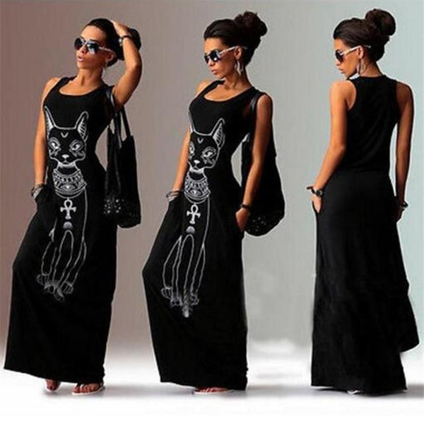 Egyptian Cat Print Boho Maxi Dress