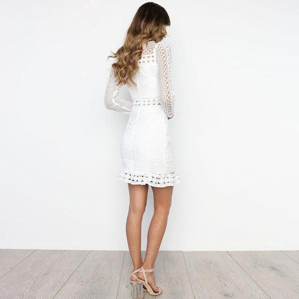 Long Sleeve Lace Detail Dress