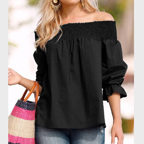 Off Shoulder Back Bow Blouse