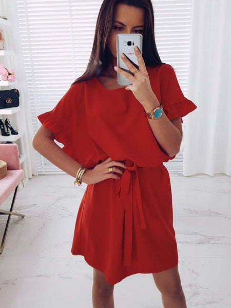 Ruffle Batwing Sleeve Waist Tie Dress