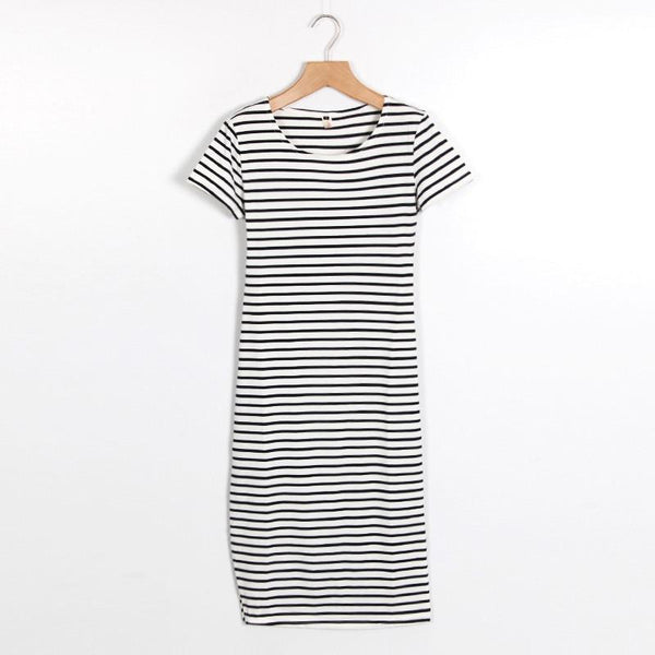 Short Sleeve Striped Maxi T-Shirt Dress