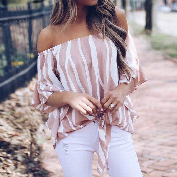 Off Shoulder Zebra Stripe Blouse