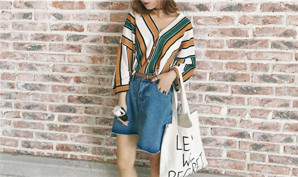 Loose Striped Button Up Blouse