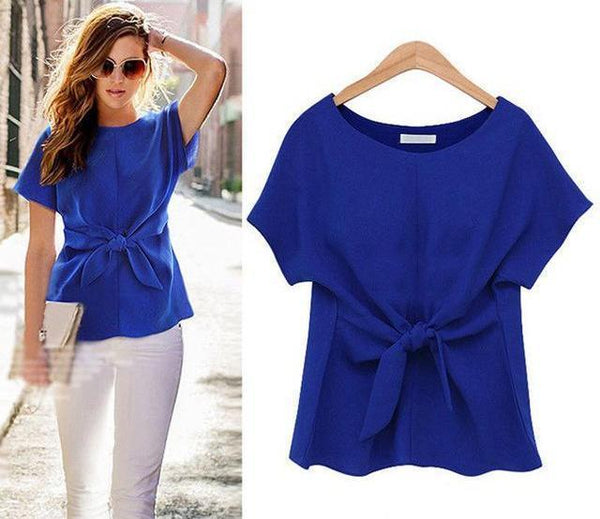 Loose Fit Short Sleeve Waist Tie Blouse