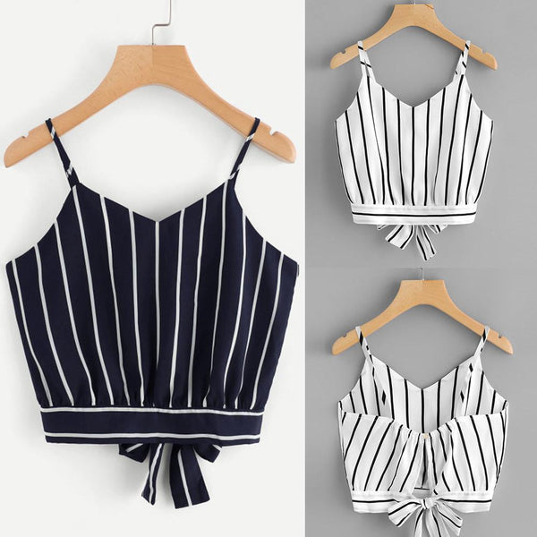 Striped V-Neck Cami Crop Top