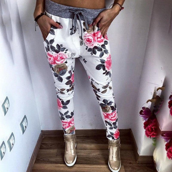 Drop Crotch Floral Print Harem Pants