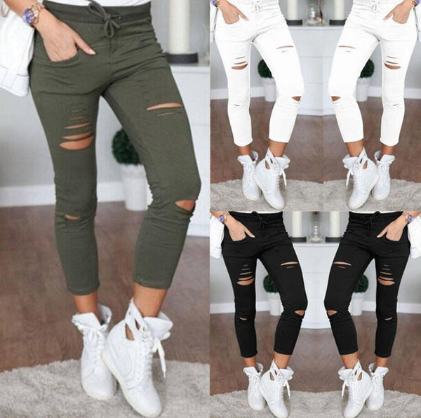 Ripped Stretch Denim Jeans