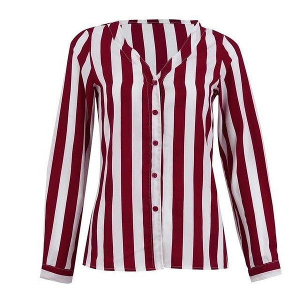 Charlee - Striped V-Neck Blouse