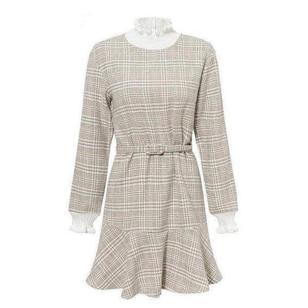 Reagan - Plaid Ruffle Detail Layered Dress