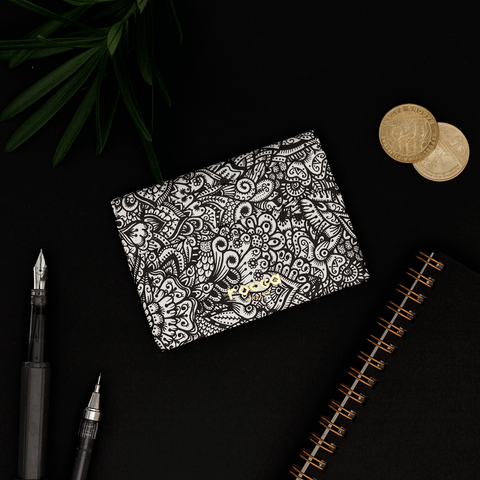 Quick Flip Wallet - Black Zentangle