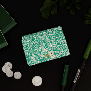 Quick Flip Wallet - Green Zentangle