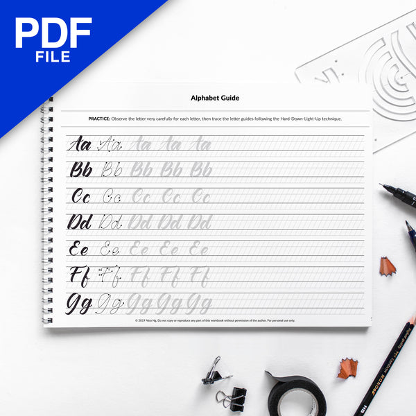 [PDF] Brush Lettering Workbook by Nico Ng