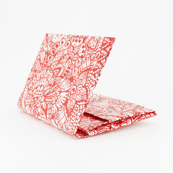 Quick Flip Wallet - Red Zentangle