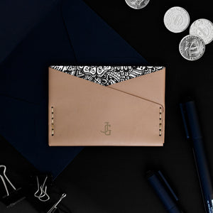 *PERSONALIZED* SuperSlim Card Sleeve - Beige Leather Zentangle Lining