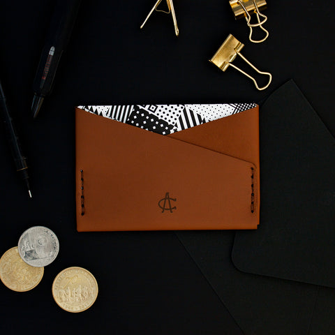 *PERSONALIZED* SuperSlim Card Sleeve - Brown Leather Geometric Lining