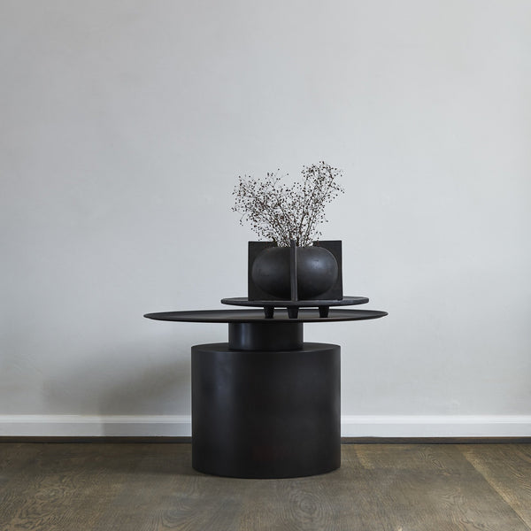 Pillar Coffee Table,  Low - Burned Black