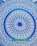 Blue Large Leafs Circle Ombre Tapestry - EarthingsSA
