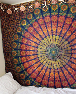Blue & Yellow Hippie Mandala Boho Tapestry