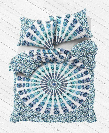White Plum & Bow Mandala Duvet Cover