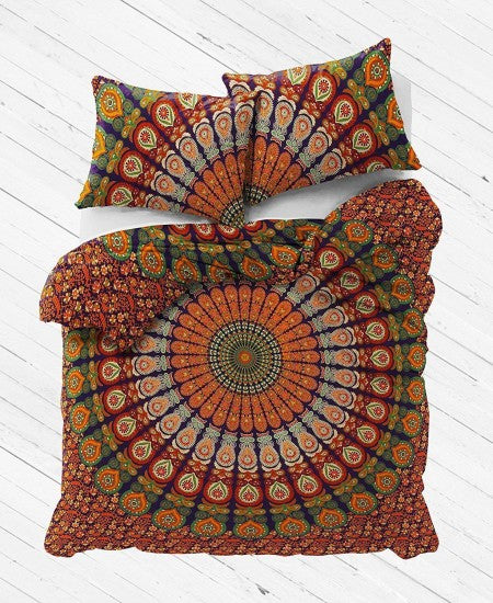 Earthy Plum & Bow Mandala Duvet Cover