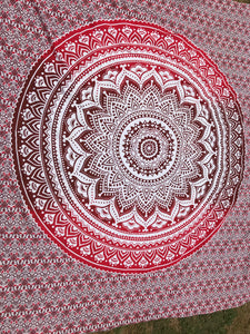 Red Ombre Mandala Wall Tapestry