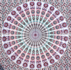White Base Pink Mandala Tapestry
