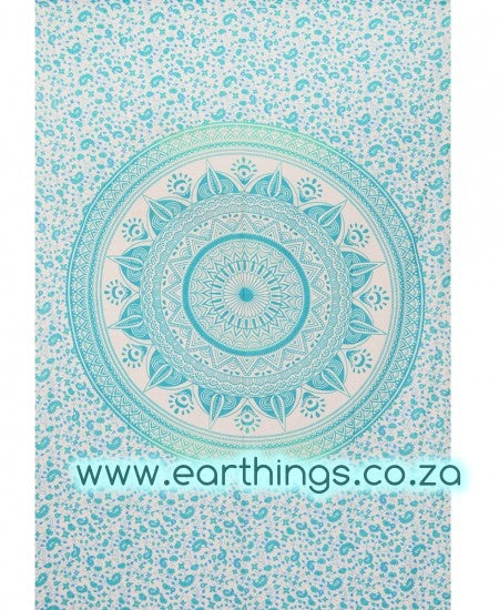 Sea Green Flower Ombre Mandala Wall Tapestry