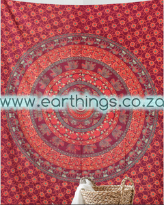 Orange Green Floral Elephant Mandala Tapestry