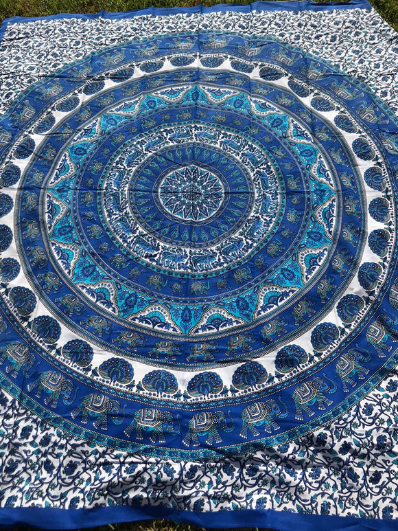 Blue Elephants Peacock Mandala Tapestry