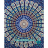 Blue Indian Psychedelic Plum And Bow Medallion Tapestry - EarthingsSA