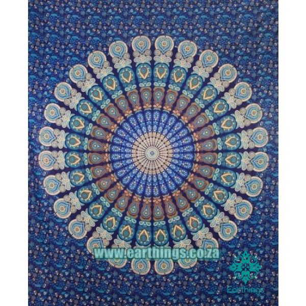 Blue Indian Psychedelic Plum And Bow Medallion Tapestry Queen Size